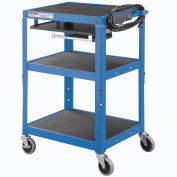 Global Industrial® Steel Mobile Workstation Cart with Slide out keyboard and Mouse Shelf-Blue