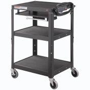 Global Industrial® Steel Mobile Workstation Cart with Slide out keyboard & Mouse Shelf - Black