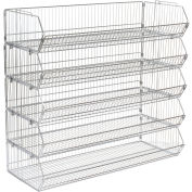 "Global Industrial™ Modular Wire Stacking Bin Basket Rack, 48""W x 20""D x 45""H, 5 Wire Bins"