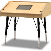 Jonti-Craft® Adjustable Height Single Tablet Wooden Top Table - Stationary