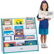 Jonti-Craft® Rainbow Accents® Flushback Pick-a-Book Stand - 1 Sided - Gray Top/Teal Edge