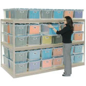 "Record Storage Rack Tan 48""W  x  24""D  x  60""H With  Polyethylene File Boxes"