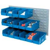 Wall Bin Rack Panel 36 x19 With 32 Blue 4-1/8x7-1/2x3 Akro Stacking Bins
