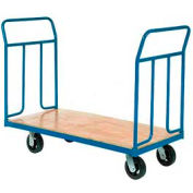 "Wood Deck Platform Truck 8"" Mold-On Rubber Wheels 2400 Lb. Capacity"