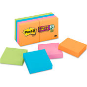 "Post-it® Super Sticky Note Pads 6228SSAN, 2"" x 2"", Electric Glow, 90 Sheets, 8/Pack"