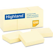 """Highland™Self-Stick Pads 6539YW, 1-1/2"""" x 2"""", Yellow, 100 Sheets, 12/Pack"""