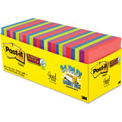 "Post-it® Super Sticky Notes Cabinet Pk 65424SSAUCP, 3"" x 3"", Jewel Pop, 70 Sheets, 24/Pack"