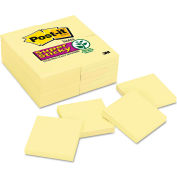"""Post-it® Notes Super Sticky Notes 65424SSCY, 3"""" x 3"""", Canary Yellow, 90 Sheets/Pad, 24/Pack"""