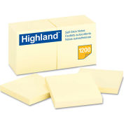 "Highland™Self-Stick Pads 6549YW, 3"" x 3"", Yellow, 100 Sheets, 12/Pack"