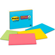 "Post-it® Super Sticky Large Format Notes 6845SSPL, 8"" x 6"", Electric Glow, 45 Sheets, 4/Pack"