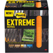 "Post-it® Extreme Notes Water-Resistant Self-Stick Notes, Orange, 3"" x 3"", 45 Sheets, 12/Pack"