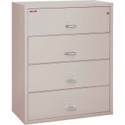 """Fireking Fireproof 4 Drawer Lateral File Cabinet Letter-Legal Size 44-1/2""""W x 22""""D x 53""""H - Lt Gray"""