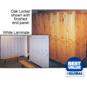 Raised Panel Wood Locker 2 Tier 15x16x72 Oak Finish With Brass Keyed Lock