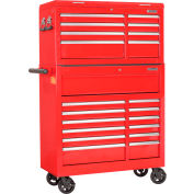 """Global Industrial™ 42-3/8"""" x 18"""" x 60-7/8"""" 21 Drawer Red Roller Tool Cabinet & Chest Combo"""