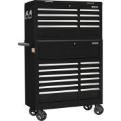 "Global Industrial™ 42-3/8"" x 18"" x 60-7/8"" 21 Drawer Black Roller Tool Cabinet & Chest Combo"