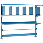 """Upright Kit with Uprights, Upper Shelves, Dividers, Bin Rail & Roll Bar for 60""""W Packing Workbenches"""
