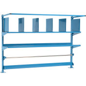 """Upright Kit with Uprights, Upper Shelves, Dividers, Bin Rail & Roll Bar for 72""""W Packing Workbenches"""