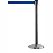 "Tensator Safety Crowd Control Queue Post, Polished Chrome With 7'6"" Blue Belt - Pkg Qty 2"