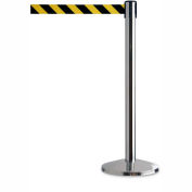 """Tensator Safety Crowd Control Queue Post, Polished Chrome With 7'6"""" Black/Yellow Belt - Pkg Qty 2"""