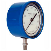 "Perma-Cal 101NTM27B21, 4.5"" Dial, 0-30 psi, 1/4"" NPT, Bottom Mount, SS Connection, BL No Flange"