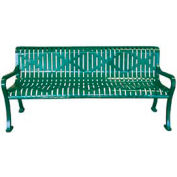 "72"" Roll Formed Diamond Bench with Back and Armrests - Black"