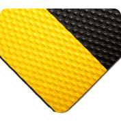 "Wearwell® Kushion Walk Unslotted Anti Fatigue Runner 3/8"" Thick 3' x 5' Black/Yellow Border"