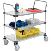 Nexel® Galvanized Steel Utility Cart 3 Shelves 36x18