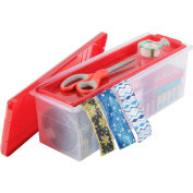 "Ribbon Storage Plastic Box w/Divider and Tray, Red Lid/Clear Container, 16"" L x 5-9/16"" W x 5-1/2"" H - Pkg Qty 6"
