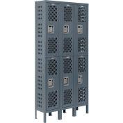 Infinity® Heavy Duty Ventilated Steel Locker, Double Tier, 3-Wide, 12x12x36, Assembled, Gray