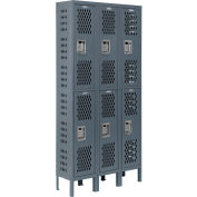 """Global Industrial™ Infinity® Double Tier 6 Dr Ventilated Locker,12""""Wx18""""Dx36""""H,Unassembled"""