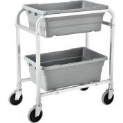 "Global Industrial™ NSF Aluminum Lug Cart 28""L x 16""W x 33""H, 2 Tote Capacity, Unassembled"