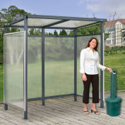 """Global Industrial™ Bus Smoking Shelter Flat Roof 3-Side Green 5 Gal. Ashtray 6'5"""" x3'8"""" x7'"""