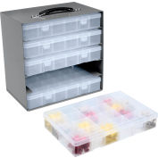 Durham Steel Compartment Box Rack 13-1/2 x 9-1/8 x 13-1/4 with 5 of Adjustable Divider Plastic Boxes
