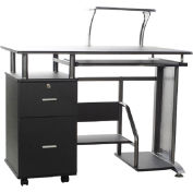 OneSpace 50-100505 Rothmin Computer Desk with Storage Cabinet, Black