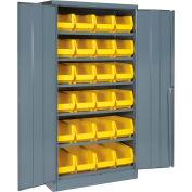 Global Industrial™ Locking Storage Cabinet 36x18x72, 24 YL Stacking Bins, 6 Shelf Unassembled