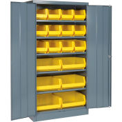 """Locking Storage Cabinet 36""""W X 18""""D X 72""""H With 18 Yellow Shelf Bins and 5 Shelves Assembled"""