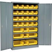 Global Industrial™ Locking Storage Cabinet 48x24x78 - 29 YL Stacking Bins & 6 Shelves Assembled