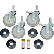 "Nexel® Stainless Steel Stem Casters - Set (4) 5"" Polyurethane, (2) with Brakes 1200 Lb. Cap."