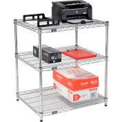 "Nexel™ 3-Shelf Wire Printer Stand, 30""W x 24""D x 34""H, Chrome"
