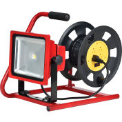 Global™ Combo LED Flood Light & Cord Reel, 30W, 2800 Lumens, 4000K, Red