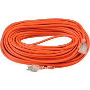 Global Industrial™ 100 Ft. Outdoor Extension Cord w/ Lighted Plug, 16/3 Ga, 10A, Orange