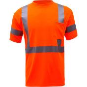 GSS Safety 5008, Class 3, Hi-Viz Moisture Wicking Birdseye Short Sleeve T-Shirt, Orange, 3XL Tall