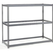 Global Industrial™ Wide Span Rack 48Wx24Dx96H W/ 3 Shelves No Deck 1200 Capacity Per Level, GRY