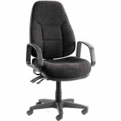 Interion® Office Chair with Arms - Fabric - High Back - Black