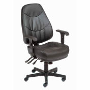 Interion® Executive Multifunctional Office Chair - Leather - High Back - Black