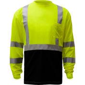 GSS Safety 5113, Class 3, Microfiber Birdseye Long Sleeve T-Shirt W/ Black Bottom, Lime, XL Tall
