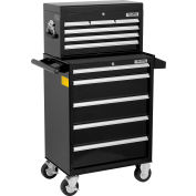 """Global Industrial™ 26-3/8"""" x 18-1/8"""" x 52-9/16"""" 11 Drawer Black Roller Cabinet & Chest Combo"""