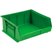 Global Industrial™ Plastic Stack and Hang Parts Storage Bin 11 x 10-7/8 x 5, Green - Pkg Qty 6