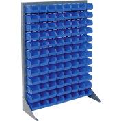 Global Industrial™ Singled Sided Louvered Bin Rack 35 x 15 x 50 - 96 Blue Premium Stacking Bins