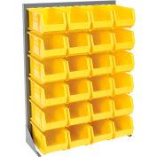 Global Industrial™ Singled Sided Louvered Bin Rack 35x15x50 - 24 Yellow Premium Stacking Bins